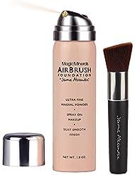 MagicMinerals AirBrush Foundation by Jerome Alexander 2-Piece Makeup Set - Mineral Foundation Spray and Kabuki Brush - Light Medium Shade