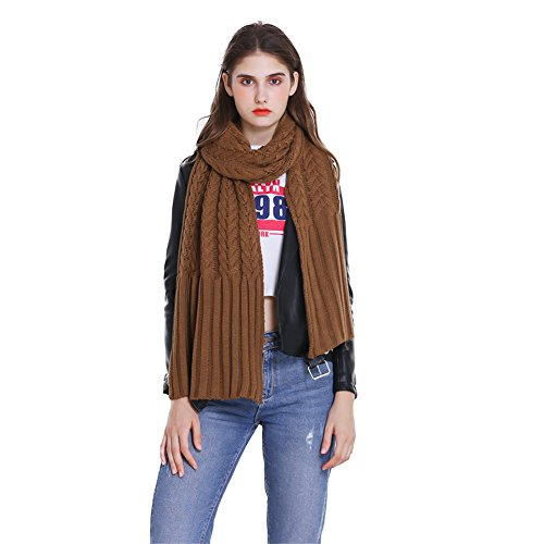 Knit Cable Long Scarf (Winter Fashion Thick Knitted Scarf ,RiscaWin Thick Cable Knit Wrap Chunky Warm Long Scarf (Caramel))