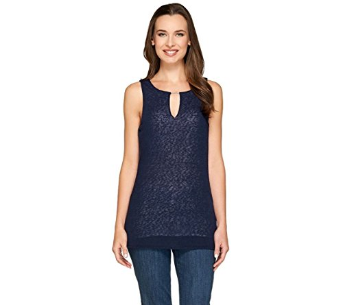 Clinton Kelly Layered Tank Beaded Sleeveless Keyhole Neck Navy XXS New A266543