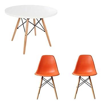 Juego de mesa de comedor y sillas,mesa redonda blanca con sillas ...
