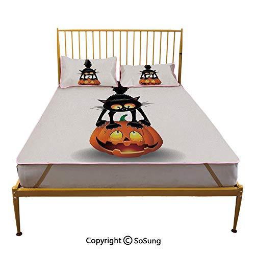 Halloween Decorations Creative Queen Size Summer Cool Mat,Black Cat on Pumpkin Spooky Cartoon Characters Halloween Humor Art Sleeping & Play Cool Mat,Orange Black]()