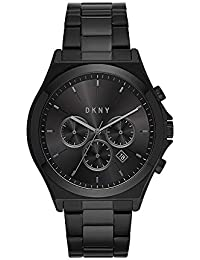 Men's Parsons Quartz Watch with Stainless-Steel-Plated Strap, Black, 22 (Model: NY1603)