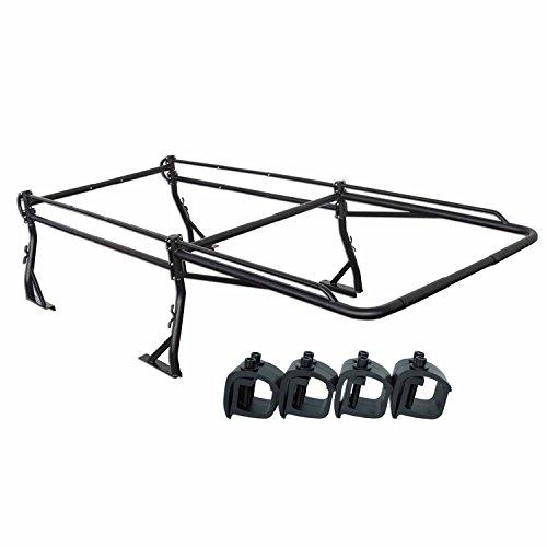 AA-Racks Model X39-8Clamp Short Bed Truck Ladder Rack Side Bar with Long Cab Ext. (8) Non-Drilling C-Clamps-Matte Black