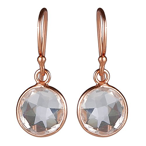 Elegant Round faceted earrings with white topaz gemstones (Faceted White Topaz Gem)