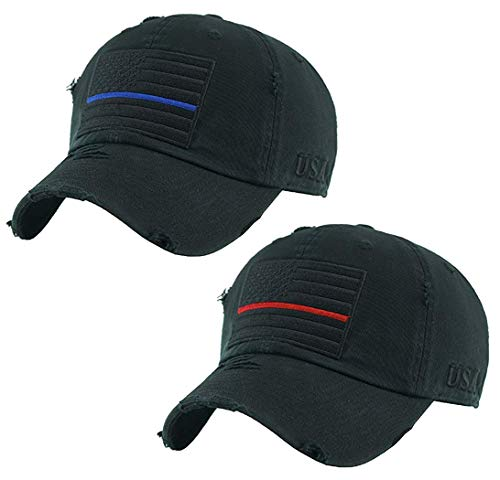 -2-AF-06110642- Mens Cap 2 PK: American Flag- Red & Blue Line (Black) ()