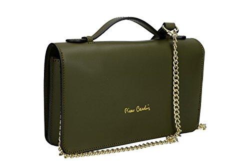 Tasche damen mit schultergurt PIERRE CARDIN grün leder Made in Italy VN301
