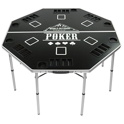 (World Outdoor Products 2019 Professional HIGH Roller Tour Lightweight Portable Folding Poker Table)