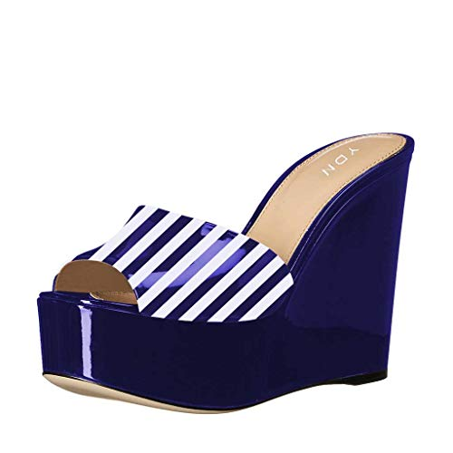 YDN Women High Heels Platform Mules Peep Toe Clogs Slip on Wedge Sandals Slide Backless Shoes Blue Stripe 8.5