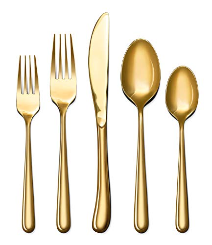 Craft & Kin Flatware Set, Hand-Forged Gold Silverware Set, Classic Heirloom Luxury Gold Flatware | Premium Quality Gold Dipped Pure Stainless Steel Cutlery Set, Dinnerware Set (20-pc, Set for 4)