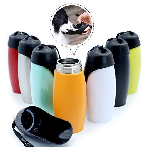 VIVAGLORY Leakproof & Portable Dog Water Bottle, 25 OZ Dog Drinking Bottle with Large Trough, Upgraded Orange