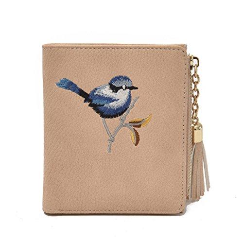 Espeedy Mujeres bolso corto de cuero de la PU borlas de bordado de pájaro lindo titular de la tarjeta con cremallera Monedero de bolsillo de la moneda de señora Casual Money Bag beige