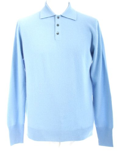 Shephe Men's Polo Cashmere Sweater with 3-button Sky Blue ()