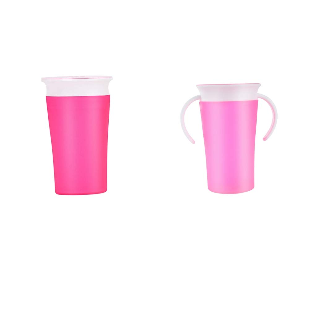 Fityle 2Pcs Munchkin Miracle 360 Degree Trainer Cup Sippy Spills Toddler BPA FREE Pink