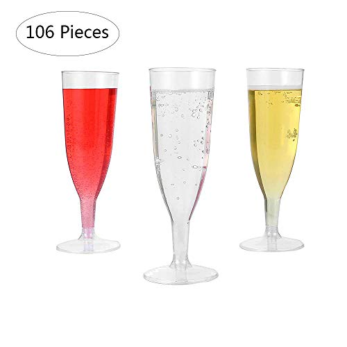 Plastic Champagne Flutes Champagne Glasses Plastic Party Glasses Premium Disposable Clear Cups Prefect for Wedding and Party (106 Pieces-5oz)