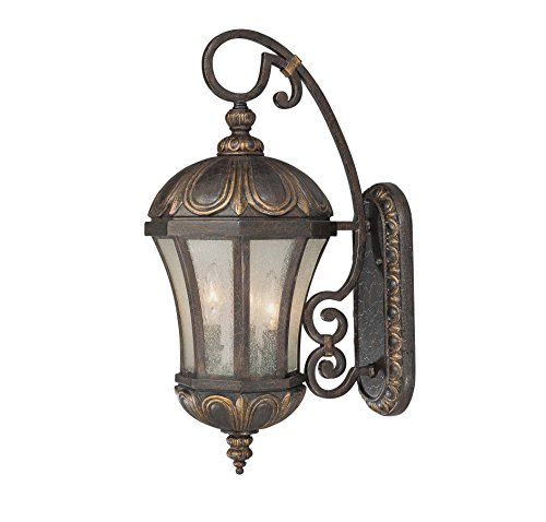 Savoy House 5-2500-306 Outdoor Sconce with Pale Cream Seeded Shades, Old Tuscan Finish (Tuscan Outdoor Lamp)
