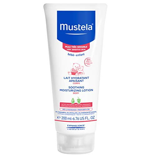 Mustela Soothing Moisturizing Body Lotion, Natural Baby Lotion, for Very Sensitive Skin, Fragrance-Free, with Natural Avocado Perseose, 6.76 Ounce