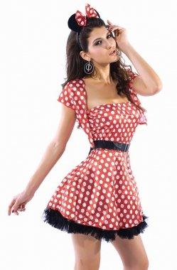 8dca2247bd3 Image Unavailable. Image not available for. Colour  Ladies Red   White  Polka dot Disney Minnie Mouse Skater Dress ...