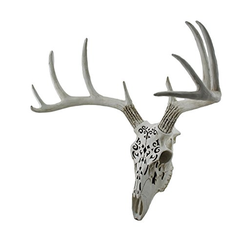 Zeckos Decorative Filigree Design Hanging Deer Skull Statue 17 Inch