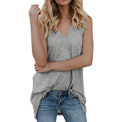 PASATO Womens Tank Tops Blouse V Neck Sleeveless Casual Solid Summer Loose Fit VestTunic Shirts