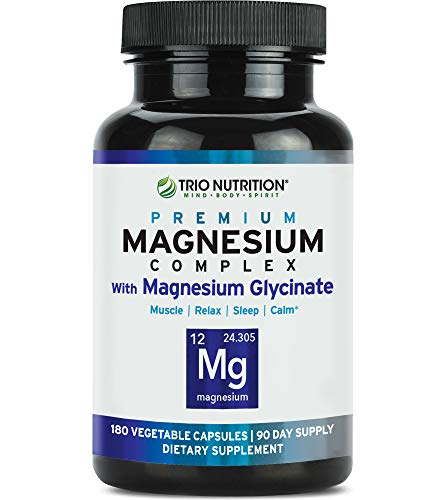 Magnesium Glycinate Complex - 90 Day Supply | Fresh Chelated with Vitamin B6 for Rapid Absorption - for Calm, Sleep, Muscle, Relaxation Revitalization & Recovery- Veggie Capsule, 100% Daily Value*