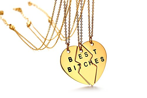 Stainless Steel Friendship Set of 3 Pieces Heart Shaped Puzzel Best Bitches BFF Pendant Necklace,Gold Plated