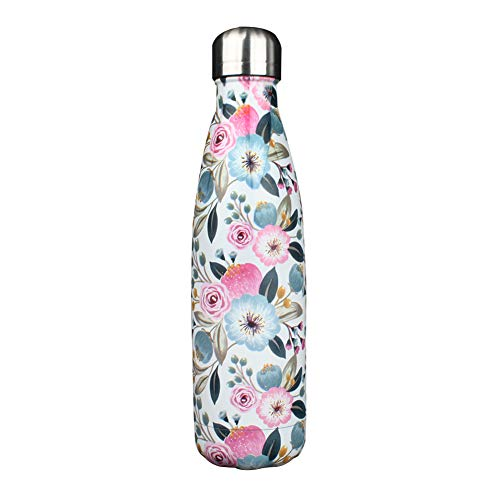 G-LEAF 17oz Floral Stainless Steel Water Bottle & Double Wall Stainless Steel Vacuum Insulated Water Bottle for Hot and Cold Beverages - Peach Bloom Flower (Stainless Water Bottle Flowers)