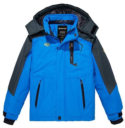 (Wantdo Boy's Hooded Ski Fleece Jacket Windproof Raincoats Windbreaker Blue)