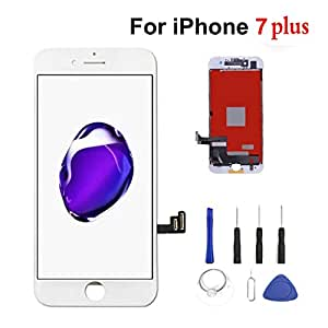 iPhone 7 Plus Screen Replacement,iPhone 7 Plus LCD Display Touch Screen Digitizer Frame Full Set with Free Tools for iPhone 7 Plus 5.5 inch White