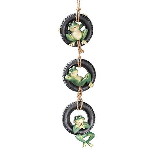 Hanging Tire Swing Frogs, Green