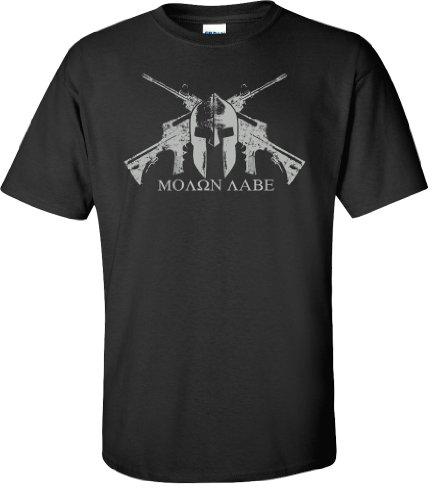 (Gadsden and Culpeper Black Helmet MOLON LABE T-shirt - XL)