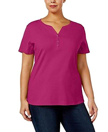 Karen Scott Plus Size Cotton Henley T-Shirt in Wild Punch Pink (2X) (Henley Size Plus Cotton)