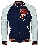 Polo Ralph Lauren Men's Bulldog Varsity Letterman Fleece Baseball Jacket - L - Navy/White