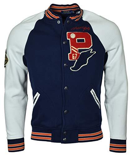 (Polo Ralph Lauren Men's Bulldog Varsity Letterman Fleece Baseball Jacket - L - Navy/White)