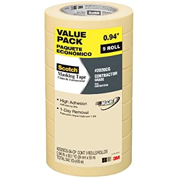 3M Scotch Masking Tape, Contractor Grade, .94-Inch by 60.1-Yard, 9-Roll