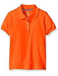 French Toast Little Girls' S/S Fitted Knit Polo with Picot Collar