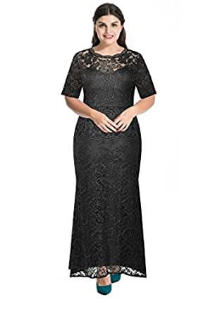 Myfeel Plus Size Lace Dress 2 layers Sheath Patchwork Cocktail Maxi Evening Gown (1X, Black)