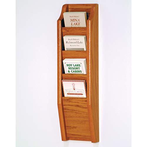 Wooden Mallet BR24-4BM Cascade 4 Pocket Brochure Rack - Black & Medium Oak