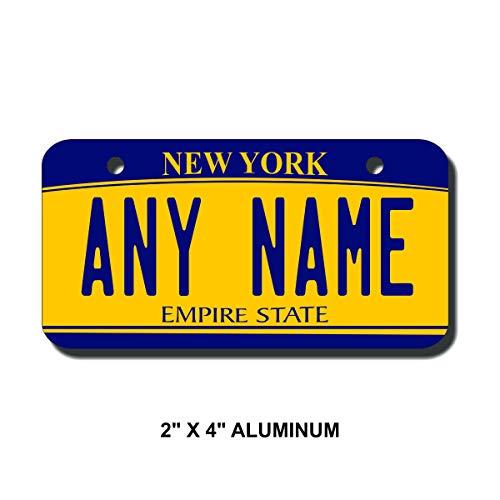 TEAMLOGO Personalized New York License Plate - Sizes for Kid's Bikes, Cars, Trucks, Cart, Key Rings Version 2 (2