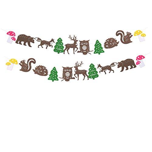 Woodland Creatures Felt Garland Forest Animals Banner Baby Shower Birthday Party (Outdoor Halloween Decorations Ideas To Make)