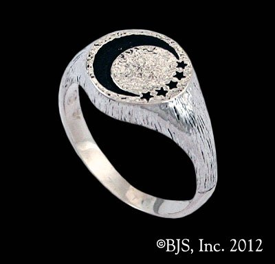 14k White Gold Lanfear's ™ Signet Ring Officially Licensed Robert Jordan Wheel of Time ® Jewelry by Raven Blackwood