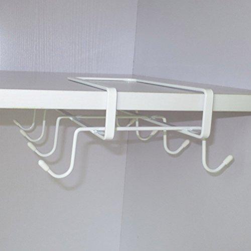 6 Hooks Cup Holder Hang Kitchen Cabinet Under Shelf: SUNLIGHTAM Under Shelf Cabinet Cup Mug Glass Bottle