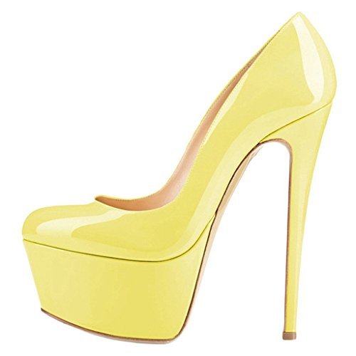 Women Platform Shoes Round Heels Stiletto Dress High Pumps Yellow 13 Size Toe Joogo dOFxqztwd