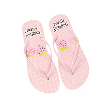 Flyme Flip Flop Sandals Strawberry Girls Plate Thongs Slippers Anti Slip Slippers for Beach Bathroom (Pink, Size 39)