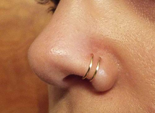 Gold Double Nose Ring Lip Ring Fake Piercing Fake -