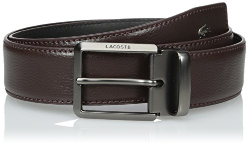 Lacoste Men's Men's Premium Leather Metal Croc Belt, Brown, 85 (Lacoste Brown Belt)