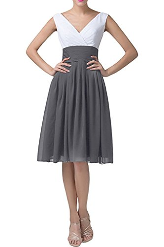 Elegant Evening Prom AN167 Short Chiffon Gray Anlin Gown Dresses Patchwork 4nBfwqg0