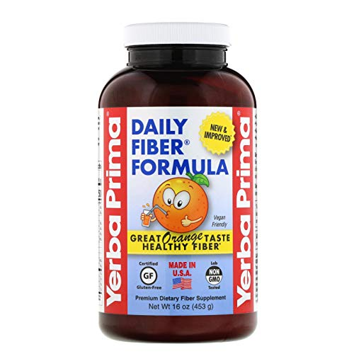 Yerba Prima Daily Fiber Formula, Orange Flavored Powder, 16 Ounces