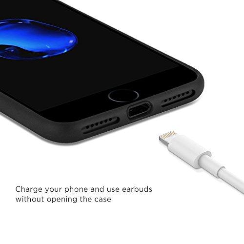 [Funziona la ricarica wireless] iPhone 7 Plus Custodia, Easyacc Protettiva Case Cover con Piastra Magnetica di Acciaio al Manganese Su Misura per iPhone 7 Plus - Nera