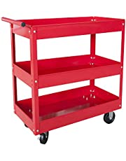 Big Red APTC302R Torin Steel Tool Service Push Cart with 3 Shelves and 200 lb Capacity, Red