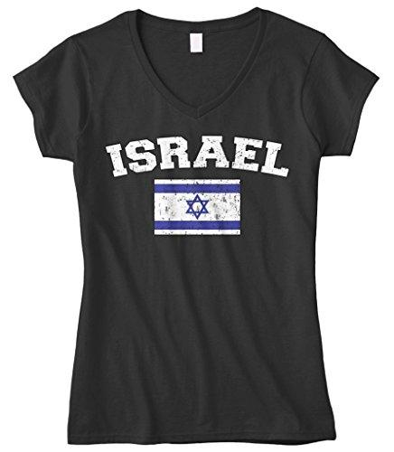 Cybertela Women's Faded Distressed Israel Flag Fitted V-Neck T-Shirt (Black, Medium)